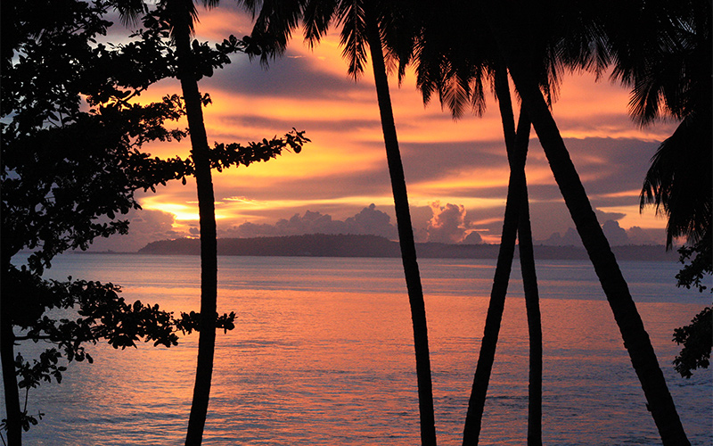 Tropical Beautiful Indonesian Sunset